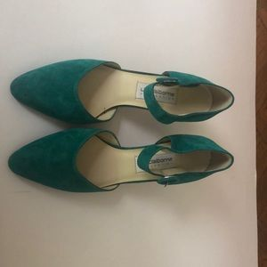 Green Mary Jane pumps